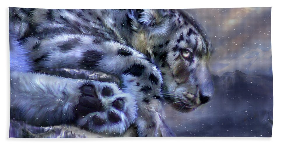 Snow Leopard Bath Sheet featuring the mixed media Spirit Of The Snow by Carol Cavalaris