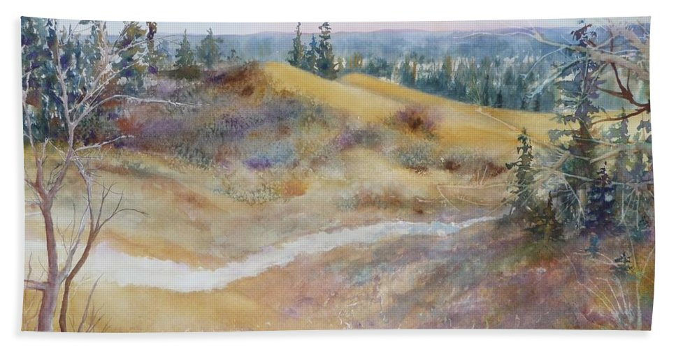 Landscape Bath Towel featuring the painting Spirit Sands by Ruth Kamenev