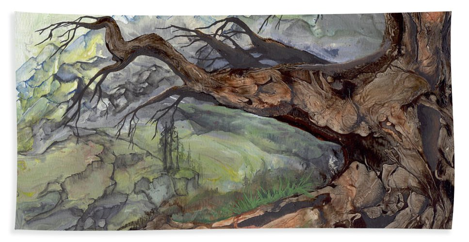 Bark Hand Towel featuring the painting Spirit Tree by Sherry Shipley