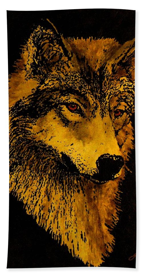 Wolf Bath Sheet featuring the painting Spirit Wolf by John Guthrie