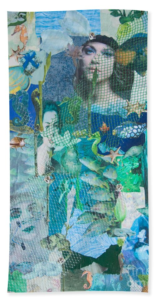 Sea Hand Towel featuring the mixed media Spirits Of The Sea by Sandy McIntire