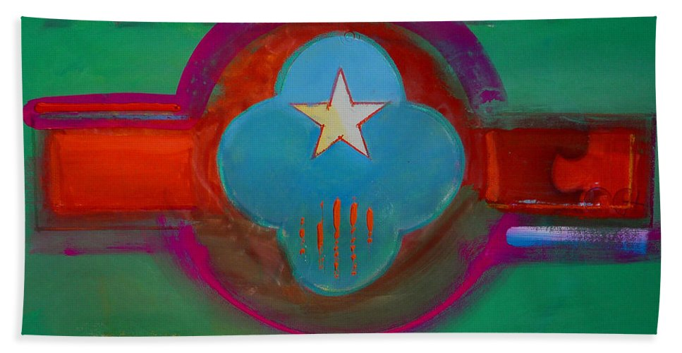 Star Bath Towel featuring the painting Spiritual Green by Charles Stuart