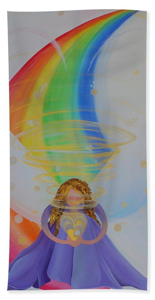 Spiritual Radiation Hand Towel featuring the painting Spiritual Radiation by Catt Kyriacou