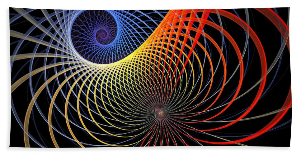 Digital Art Bath Sheet featuring the digital art Spirograph by Amanda Moore