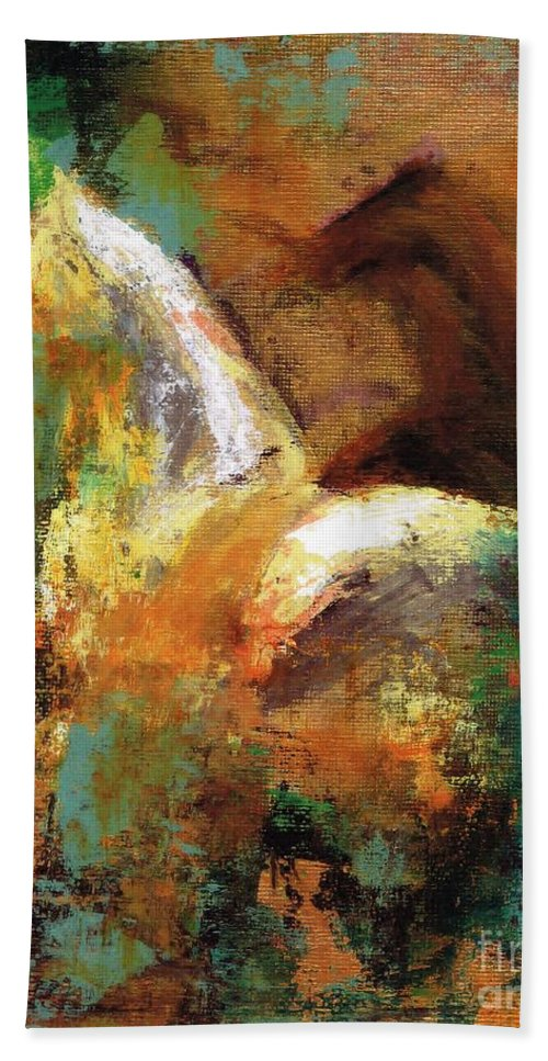Abstract Horse Hand Towel featuring the painting Splash Of White by Frances Marino