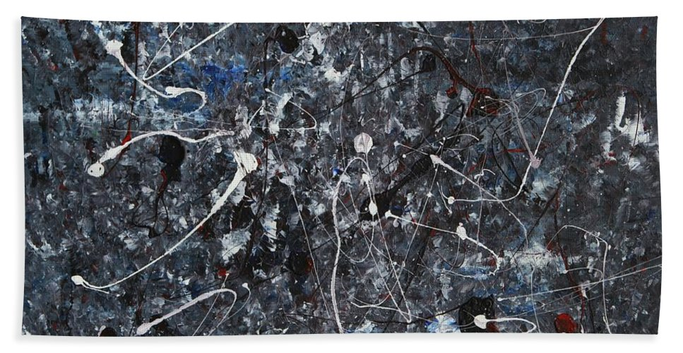 Splatter Bath Towel featuring the painting Splattered - Grey by Jacqueline Athmann