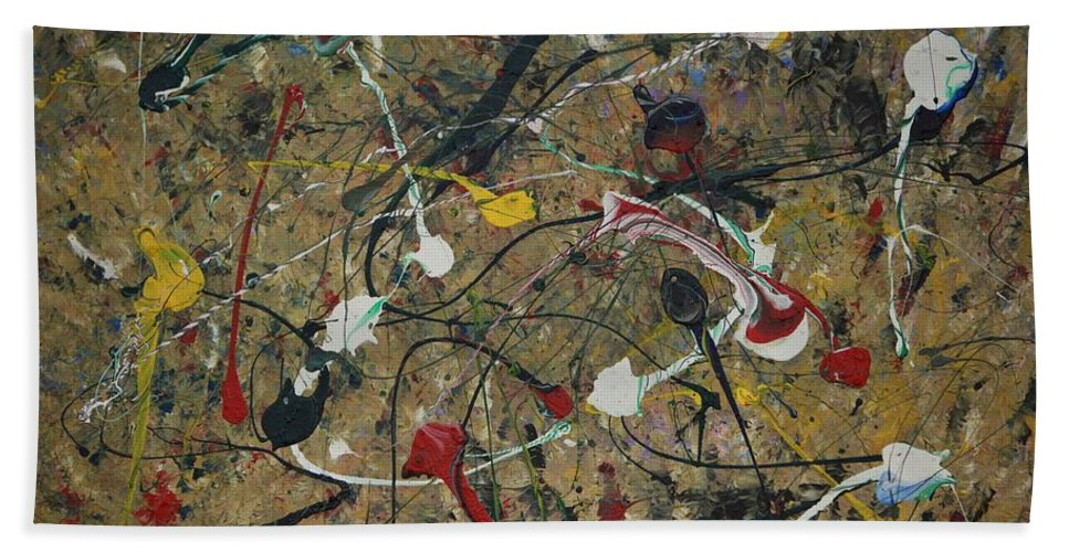 Abstract Hand Towel featuring the painting Splattered by Jacqueline Athmann