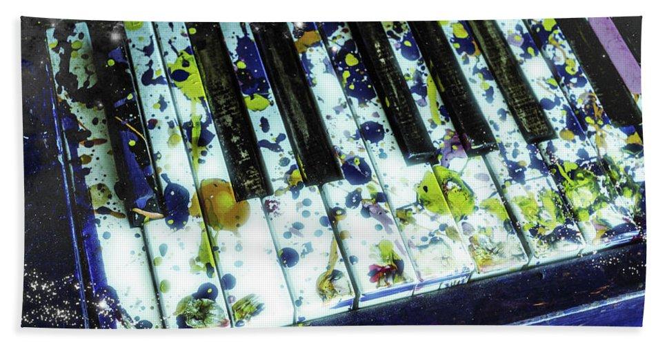 Still Bath Sheet featuring the photograph Splattered Keys by Jim Love