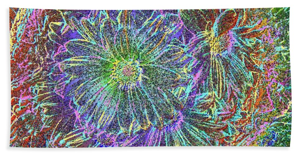 Flowers Hand Towel featuring the digital art Splendid Florish by Tim Allen
