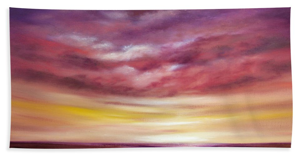 Sunset Hand Towel featuring the painting Splendid by Gina De Gorna