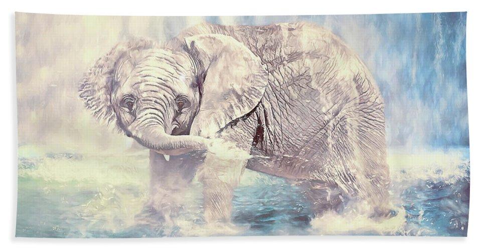 Ulanawa Foote Bath Sheet featuring the digital art Splish Splash by Ulanawa Foote