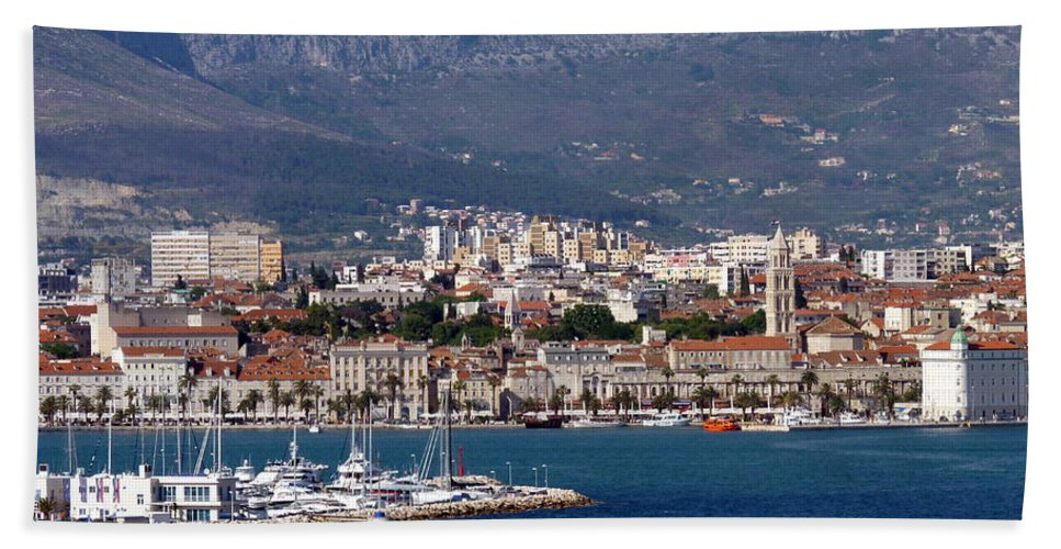 Split Hand Towel featuring the photograph Split Croatia's Waterfront by Carla Parris