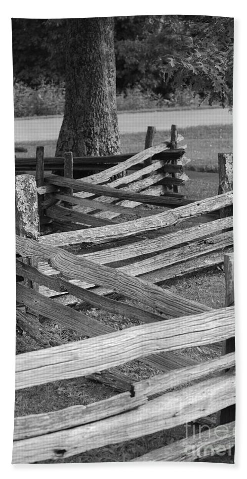 Road Hand Towel featuring the photograph Split Rail Fence by Eric Liller