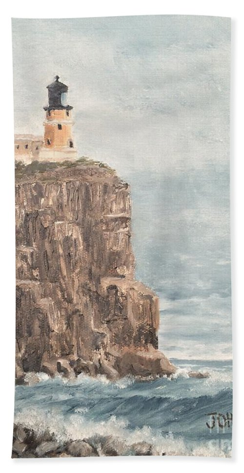 Landscape Hand Towel featuring the painting Split Rock Light House 4 by J O Huppler