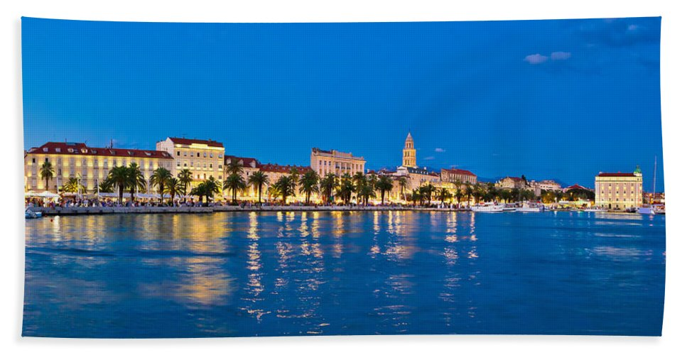 Split Hand Towel featuring the photograph Split Waterfront Blue Hour View by Brch Photography