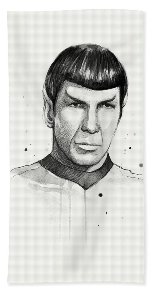 Star Trek Bath Towel featuring the painting Spock Watercolor Portrait by Olga Shvartsur