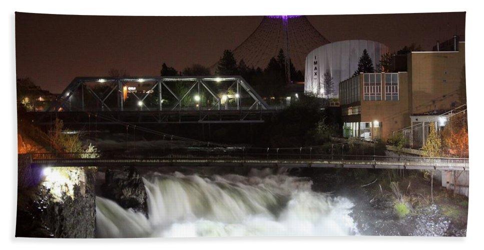 Spokane Hand Towel featuring the photograph Spokane Falls Night Scene by Carol Groenen