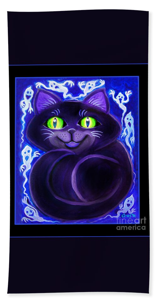 Cat Bath Sheet featuring the painting Spooky Cat by Nick Gustafson