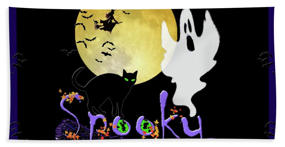 Ghosts Hand Towel featuring the photograph Spooky Halloween by Michele Avanti