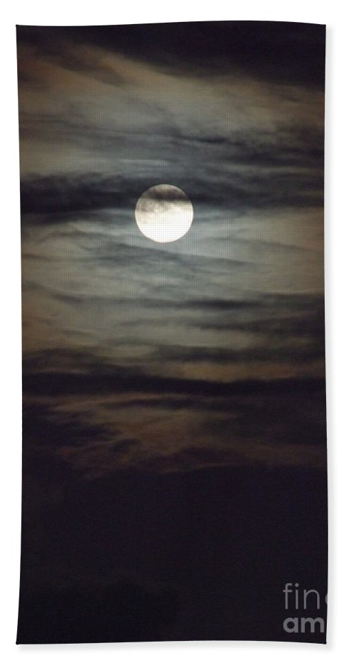 Mary Deal Hand Towel featuring the photograph Spooky Moon by Mary Deal