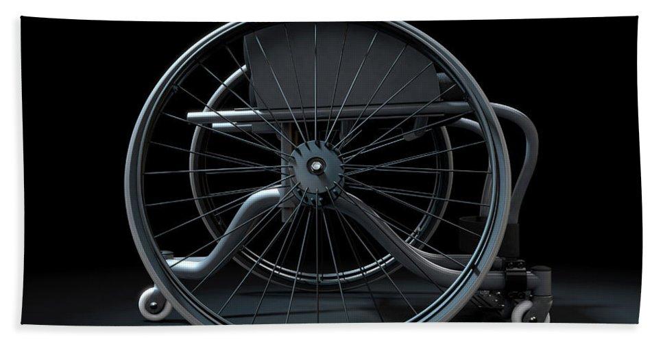 Wheelchair Bath Towel featuring the digital art Sports Wheelchair by Allan Swart