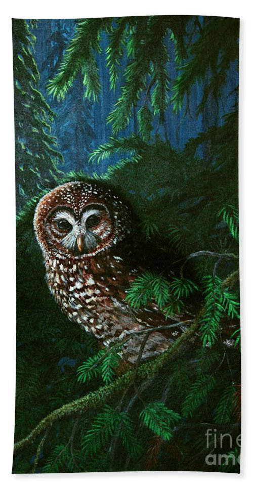 Owl Bath Towel featuring the painting Spotted Owl In Ancient Forest by Nick Gustafson