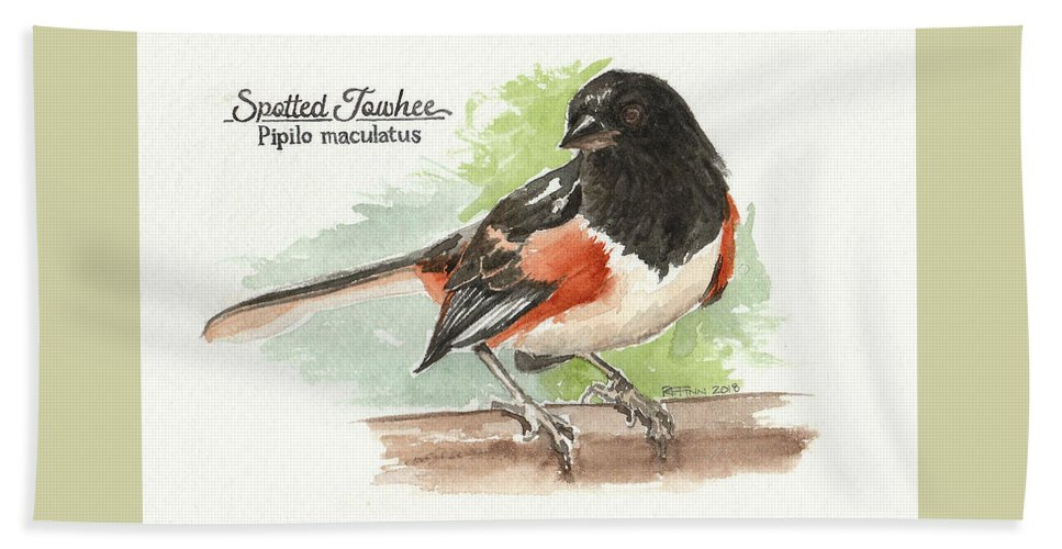 Birds Bath Towel featuring the painting Spotted Towhee by Rowena Finn