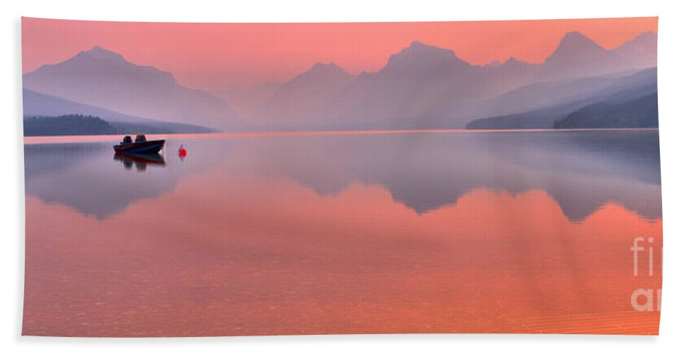 Lake Mcdonald Hand Towel featuring the photograph Sprague Fire Smokey Reflections by Adam Jewell
