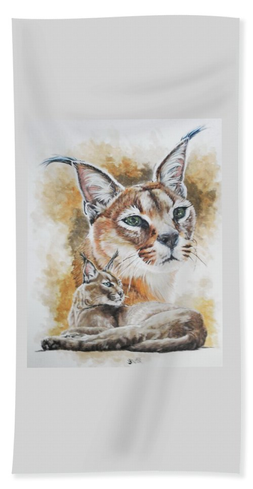 Caracal Hand Towel featuring the mixed media Sprightly by Barbara Keith