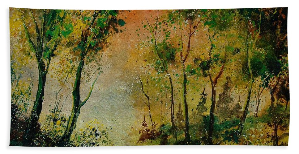 Spring Hand Towel featuring the painting Sprin In Wood 45 by Pol Ledent