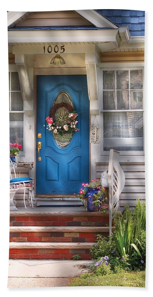 Door Bath Sheet featuring the photograph Spring - Door - A Bit Of Blue by Mike Savad