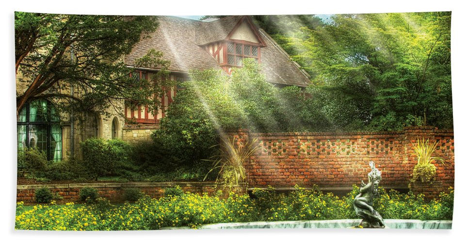 Savad Bath Sheet featuring the photograph Spring - Garden - The Pool Of Hopes by Mike Savad