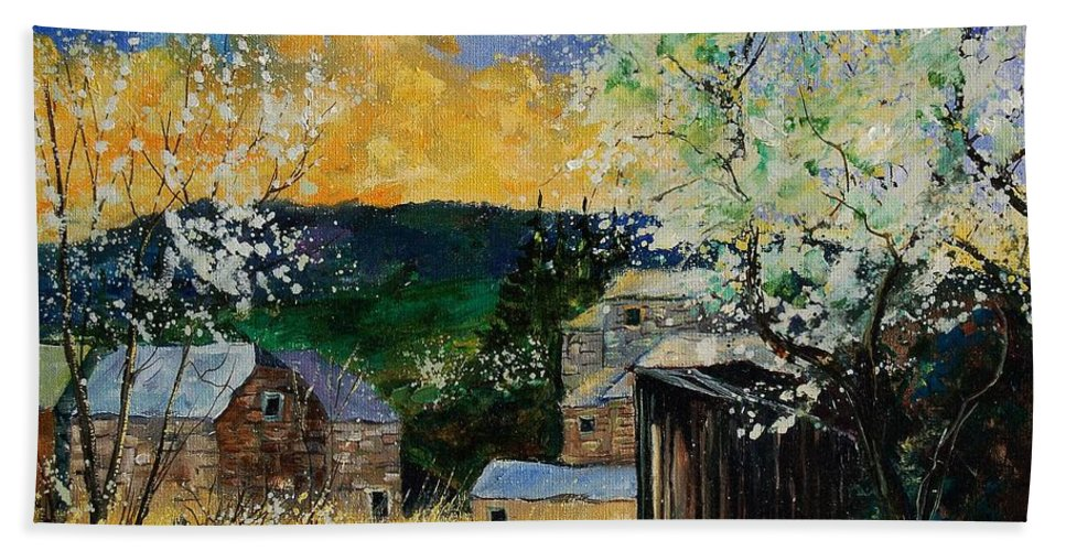 Spring Hand Towel featuring the painting Spring 45 by Pol Ledent