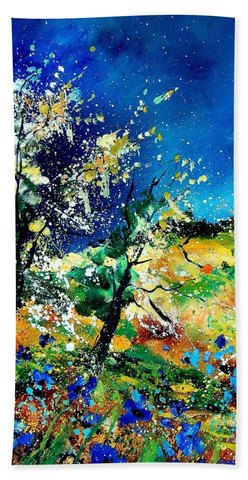 Tree Hand Towel featuring the painting Spring 56 by Pol Ledent