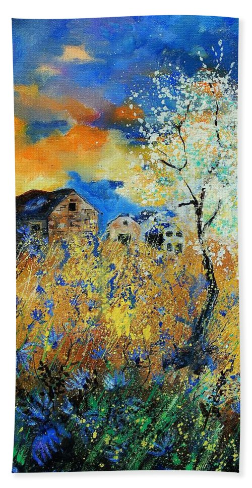 Flowers Hand Towel featuring the painting Spring 67 by Pol Ledent