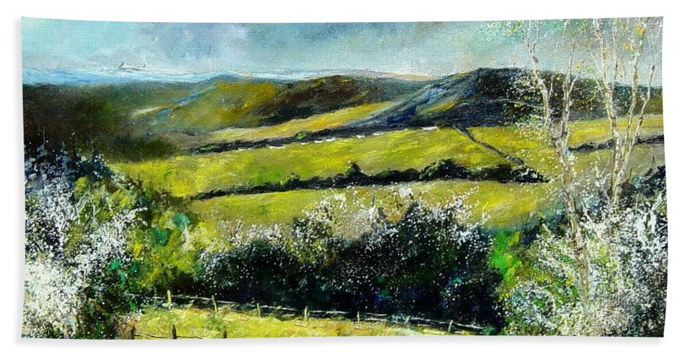 Landscape Hand Towel featuring the print Spring 79 by Pol Ledent