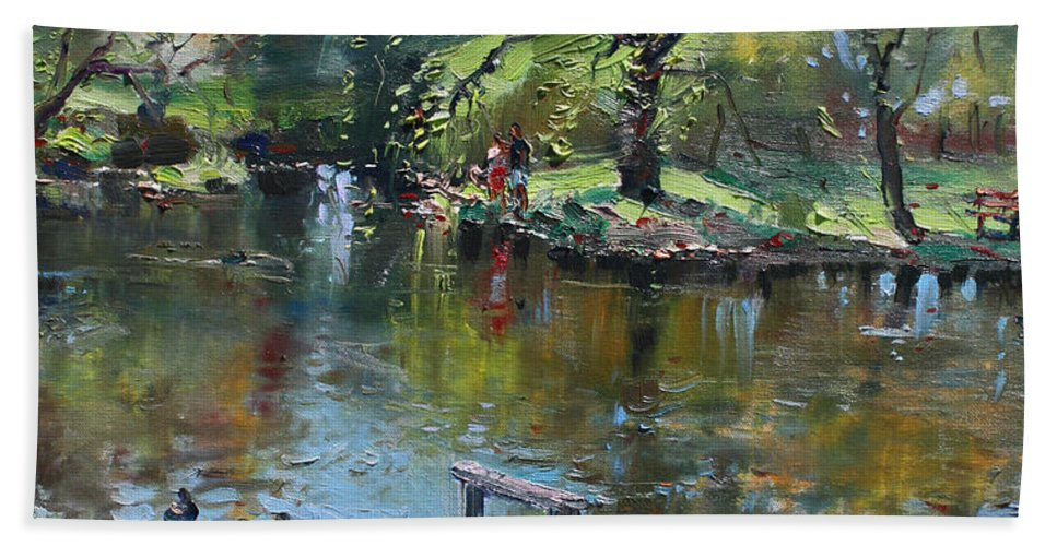 Landscape Bath Sheet featuring the painting Spring Again by Ylli Haruni