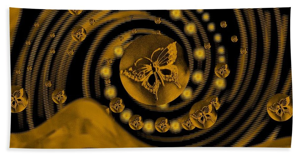 Spring Hand Towel featuring the digital art Spring Arrives In Golden Global Style by Pepita Selles