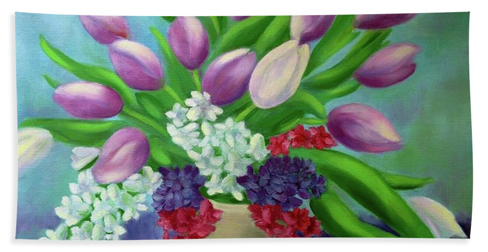 Flowers Bath Sheet featuring the painting Spring As A Gift by Margareta Apahidean