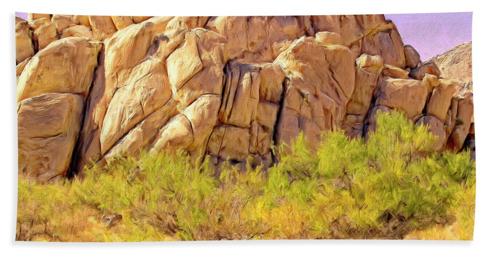 Desert Hand Towel featuring the painting Spring At Joshua Tree by Dominic Piperata