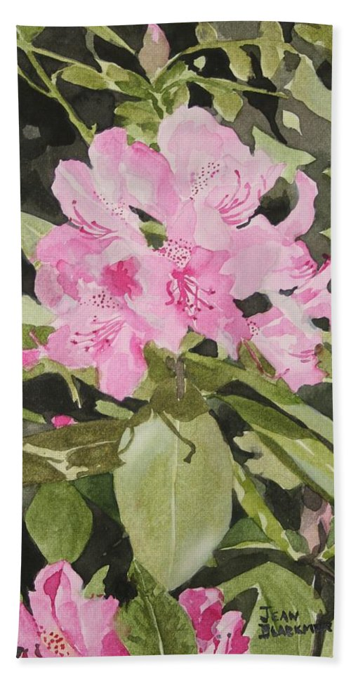 Flowers Bath Towel featuring the painting Spring At The Cabin by Jean Blackmer