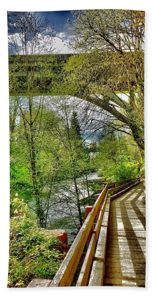 Sunny Hand Towel featuring the photograph Spring At The Falls by Sue M Marshall