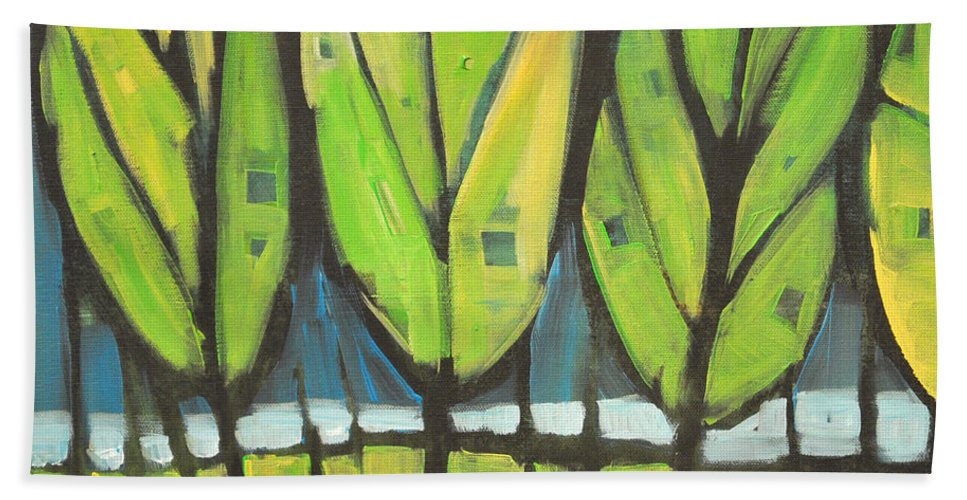 Spring Bath Towel featuring the painting Spring At The Lake by Tim Nyberg