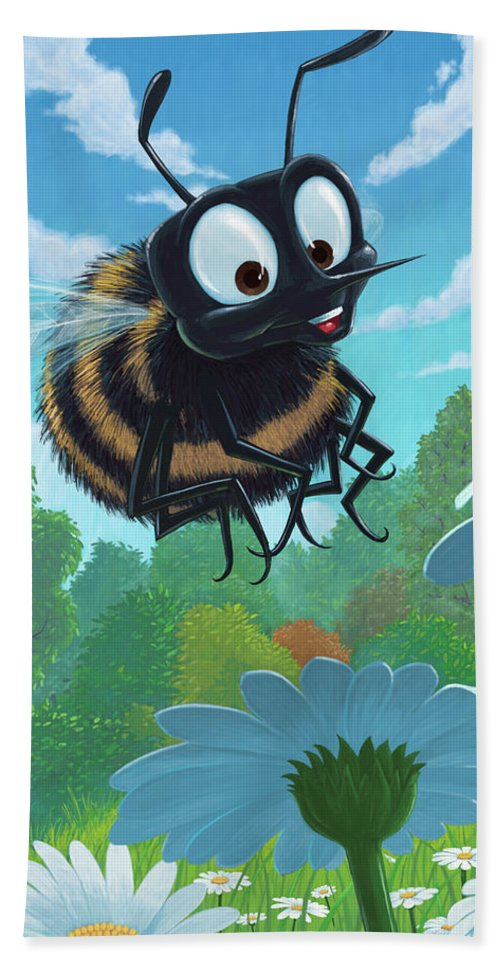 Spring Bath Towel featuring the painting Spring Bee by Martin Davey