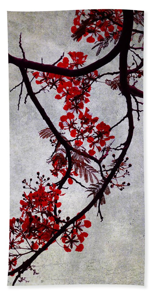 Jenny Rainbow Fine Art Photography Hand Towel featuring the photograph Spring Bloosom In Maldives. Flamboyant Tree II. Japanese Style by Jenny Rainbow