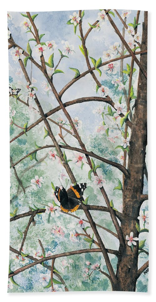 Butterfly Bath Towel featuring the painting Spring Blossom by Mary Tuomi