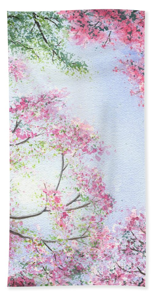 Tree Blossoms Bath Sheet featuring the painting Spring Blossoms by Lynn Quinn