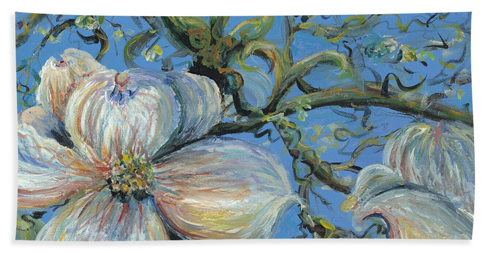 Flower Bath Towel featuring the painting Spring Blossoms by Nadine Rippelmeyer