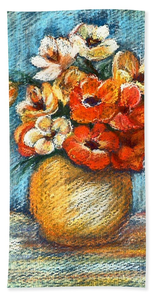 Stilllife Hand Towel featuring the drawing Spring Bouquet by Portraits By NC