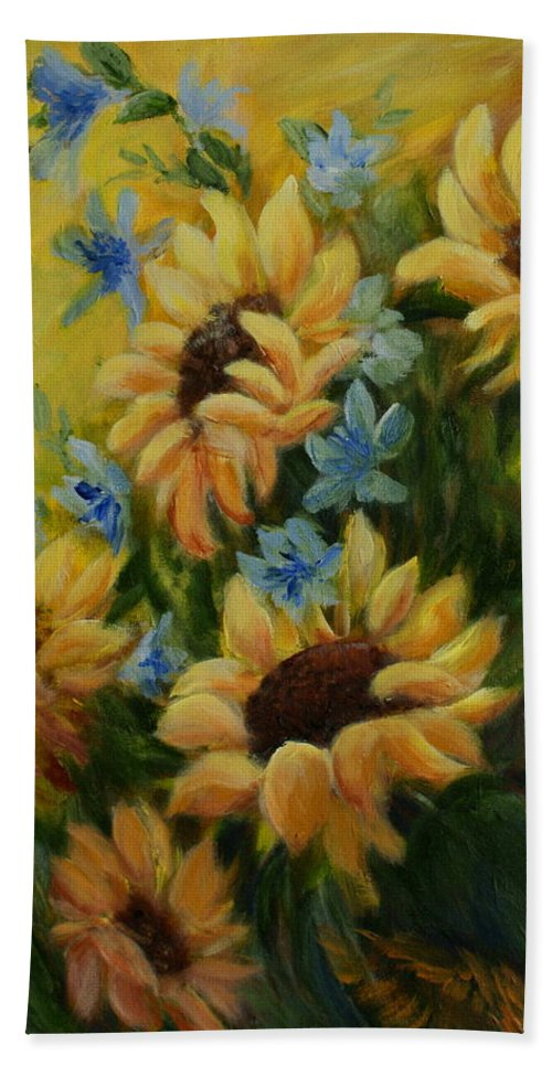 Daisies Bath Sheet featuring the painting Sunflowers Galore by Joanne Smoley